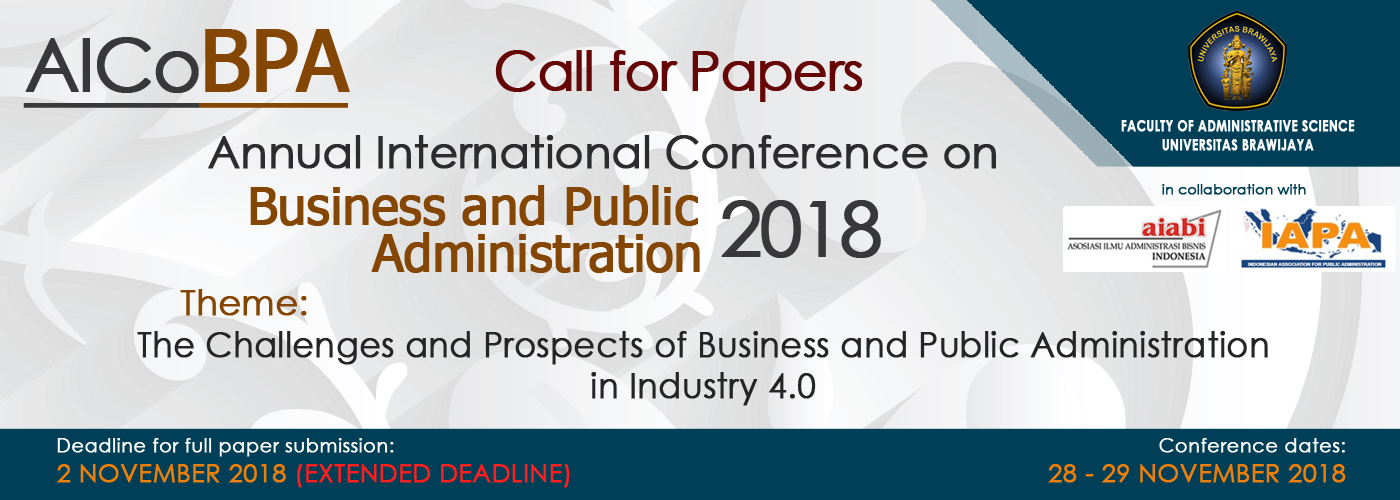Final Paper Submission Extension Until 2 November: AICoBPA 2018
