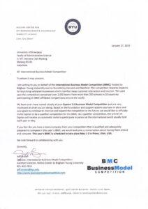 Surat dari Direktur International Business Model Competition