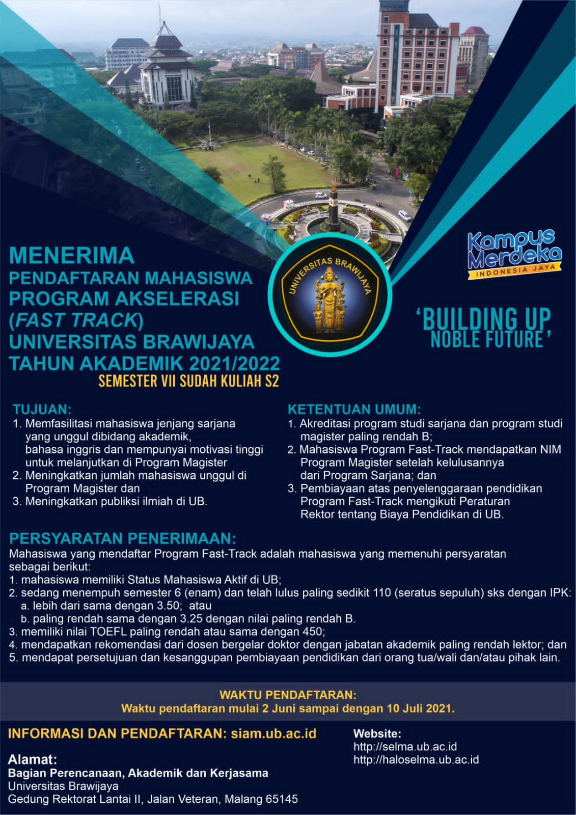 (Indonesia) PENDAFTARAN MAHASISWA PROGRAM AKSELERASI UNIVERSITAS BRAWIJAYA TA 2021/2022